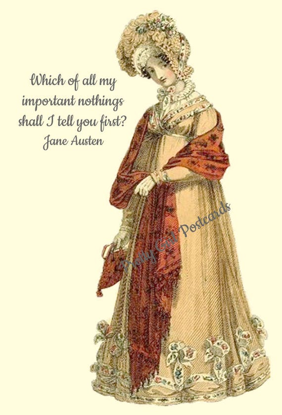 Jane Austen Postcard Quote Card Which Of All My Important Nothings Shall I Tell You First Red Shawl Pretty Girl Postcards Free Ship in USA