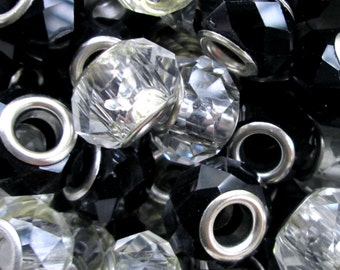 Wholesale Lot ~ 20 European Large Hole Beads ~ Faceted Bead Mix ~ Jet & Clear