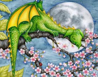 Sleeping Baby Dragon Picture - giclee print, childrens illustration, kids bedroom, nursery wall art, fantasy, fairytale, night, sleepy, moon