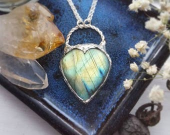 """Silver Labradorite Necklace, Labradorite Heart Pendant, """"Love's Fire"""", Labradorite Jewelry, Ready to Ship Gifts, Heart Jewelry, Mother's Day"""