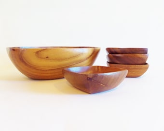 Vintage Mid Century Square Wood Salad Serving Bowl and 4 Salad Bowls - Retro Monkey Pod Wood made in the Philippines