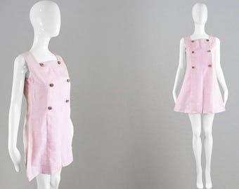 Vintage 70s Mod Mini Dress A Line Shift Dress Baby Pink Mini Dress Textured Fabric Floral Buttons Pastel Pink Dress Short Party Dress 1970s