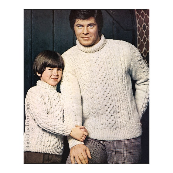 Knitting Pattern Boys Mens Aran Sweater Knit Pullover Cable