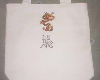 White Canvas Dragon Tote Bag
