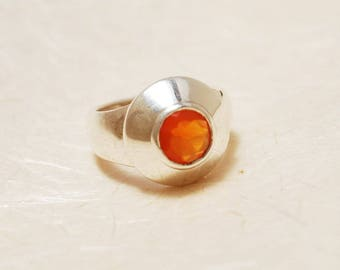 Unique Engagement ring - Sterling Silver and Carnelian ring, Wide everyday ring, Orange ring, Everyday ring, Promise ring, Anniversary gift