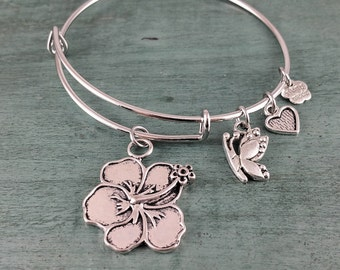 Hibiscus Adjustable Bangle Bracelet