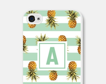 Personalized iPhone 6 Plus Case - Pineapple iPhone 6 Case - Striped iPhone Case - Mint iPhone 5 Case Monogram iPhone Case Pastel iPhone Case