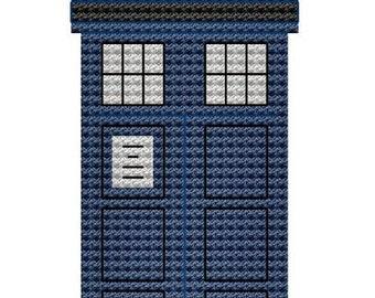 Blue Police Box cross stitch pattern pdf