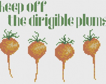 Keep Off The Dirigible Plums Cross Stitch Pattern