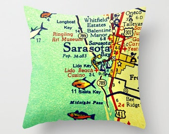 Sarasota Florida Map Pillow Cover, Sarasota Beach House Pillow, Sarasota Art Gift, Throw Pillow, Lido Longboat Siesta Key