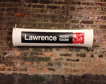 Lawrence Ave 'L' Sign, Lawrence , avenue, L, sign, signs, cta, red, chicago, subway, train, trains, frame, handmade, wall, art, wood