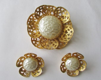 Vintage Faux Pearl & Gold Brooch Flower Pin and Clip Earrings Signed Celebrity