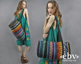 Guatemalan Duffle Bag Rainbow Bag Large Duffle Bag 70s Bag 1970s Bag Hippie Bag Oversized Boho Bag Travel Bag Carry On Bag Weekender Bag