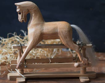Vintage Wooden Rocking Horse Miniature Hand Carved Pony Toy
