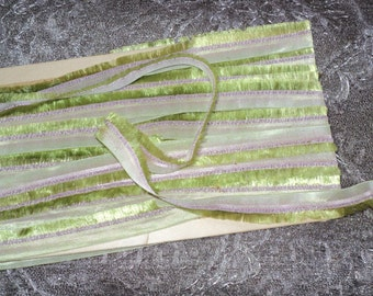 1920's Antique Silk Ribbon Trim Fringed French By the Yard Ideal for Doll clothing, Ribbonwork, Milinery, Dress Trim