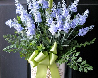 English Lavender Bouquet Wall Decor Ferns Moss Garden Wedding Romantic Country Shabby Chic Cottage French Farmhouse Style Decor