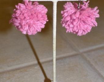 Pom Pom Earrings. Statement Jewelry. Pink Yarn. Pink Pom Pom. Pink Dangle Earrings. Boho Earrings. Pink PomPom. For Her. Under 20.