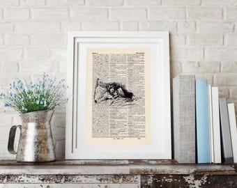 SLEEPLESS antique book page - portrait print