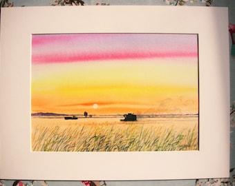 Evening Harvest, Original Watercolour Painting