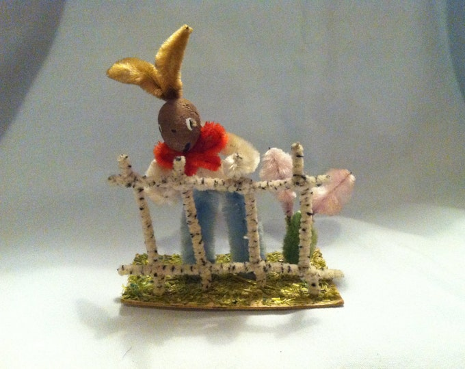Vintage Bunny at the fence Easter Bunny decoration Christmas Hand work