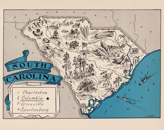30's Vintage SOUTH CAROLINA Picture Map State Cartoon Map Print Gallery Wall Art Map Collector Gift For Traveler Birthday Wedding