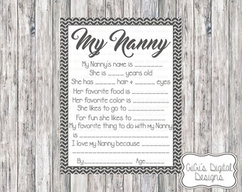 Printable My Nanny Survey, Nanny Survey, Nanny questionnaire, Mother's Day Survey, Mother's Day, Nannny Gift, Grandparents Day gift idea