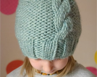 Beanie PDF Knitting Pattern, The French Twist Hat Sized Baby to Adult