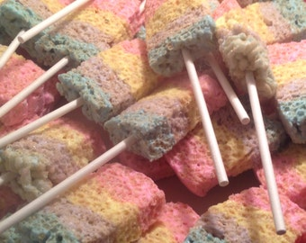 Tasteful colorful rice Krispy treats made with peeps marshmallows . Great for parties, candy stations, favors, Easter baskets , etc...24 pcs