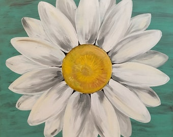 Original Daisy Painting on a Wood Panel Turquoise Blue Distressed Flower Art