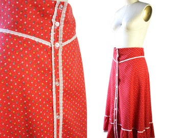 Red & White Floral Lace Trimmed Prairie Skirt