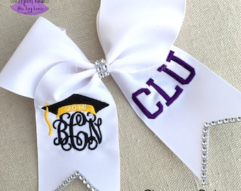 Personalized Graduation Cap Bow with Bling, 2018 Graduation Bow, Monogrammed Bow for Graduation, Graduation Bow with School Letters