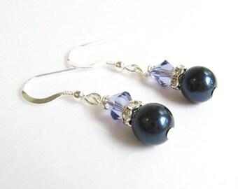 Dark Blue Earrings, Faux Pearl Midnight Blue and Lavender Crystal Earrings, Dainty Earrings, Minimalist Jewelry