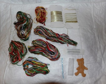 5 hanks  assorted colored embroidery floss, gold beading thread & 4 needles - etn1