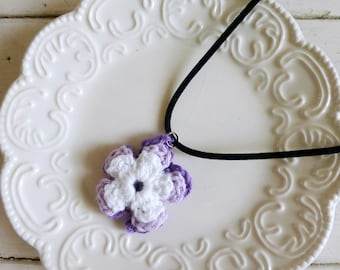 Crochet rose pendant, crochet necklace, crochet jewelry, Irish rose crochet, purple pendant, cute necklace, gift idea, ready to ship