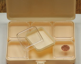 Jewellery plastic spares parts containers x6 clear lid tubs in box