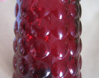Ruby Red Bubble Glass Vase or tumbler Vintage Retro Anchor Hocking