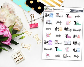 Assorted College/School Planner Stickers | for use with Erin Condren Lifeplanner™, Filofax, Personal, A5, Happy Planner