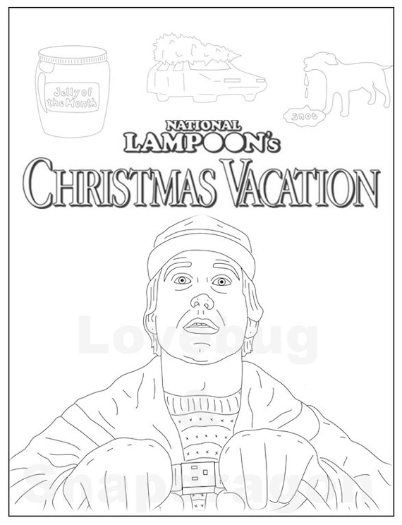 National Lampoons Christmas Vacation Adult Coloring Book Instant Print Download Digital File Christmas Activity Coloring Pages