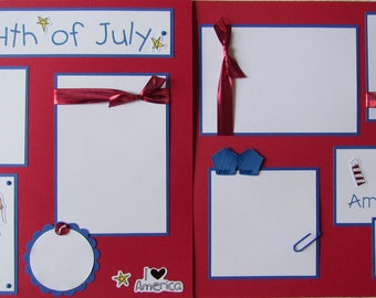 Premade 12x12 Scrapbook Pages -- THE 4TH OF JULY -- Fourth of July layout - IndEpENDeNCe DaY, Summer, Girl, Fireworks, Family, scrapbooking