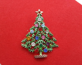 ART signed Green Spruce Tree Brooch Seasonal Holiday Christmas Tree Large Rhinestones