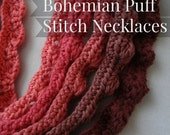 Puff Stitch Crochet Pattern Bohemian Necklace #3 - crochet puff stitch pattern, tribal necklaces,instant download