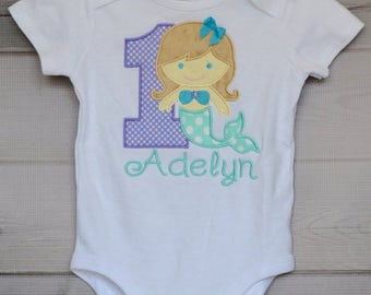 Personalized Mermaid Birthday Applique Shirt or Bodysuit Girl