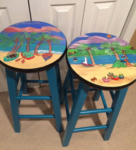 These 6 Pieces Of Colorful Furniture Are Absolute Must Haves: Whimsical Painted Furniture Painted Bar Stool //Miami Style