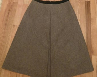 Vintage 70s 1970s German Gray Wool Skirt Inverted Pleat Lined XL Xtra Large