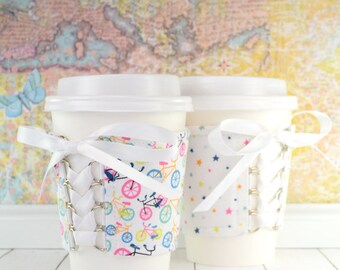 Beverage Corset Sleeve // Ride Away With Me Cup Cozy // reversible // adjustable // reusable // eco-friendly // to go cup cozy // bike lover