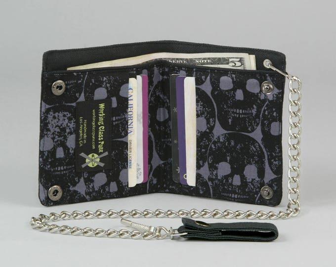 Black Skulls Vegan Chain Wallet, Black Canvas, Detachable Silver Chain, Dark Gray Fabric Pockets, Bifold Wallet