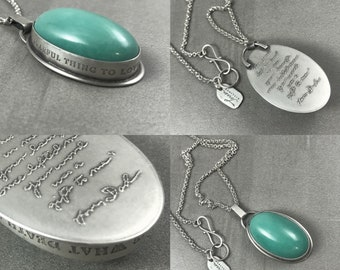 Handwriting Custom Personalized Gemstone Inscribed Necklace ~Heart Histories Necklace~ Agate Natural Secret Message Engraved Stone Crystal