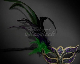 Mardi Gras Feather Masquerade Mask Green Gold Purple