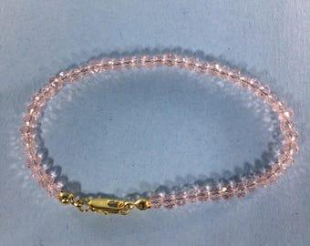 Memorial  Day SALE 30% Pink Quartz Bracelet, Pink Quartz Bracelet  ,gemstone Bracelet , Birthstone Bracelet ,     Birthstone bracelet
