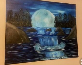 Moonlit waterfall painting